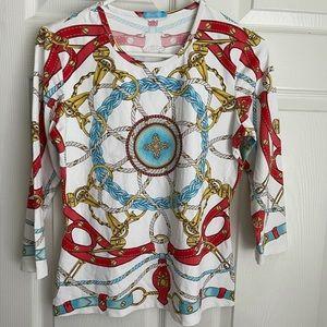 NWOT J. McLaughlin chain print 3/4 sleeves top